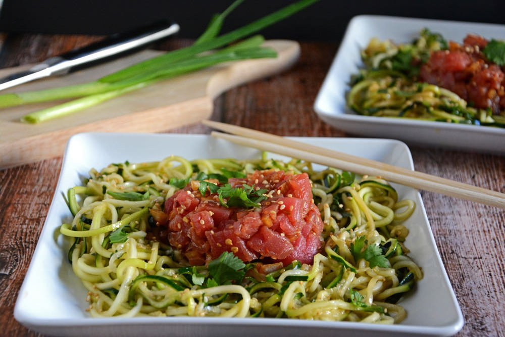 Ahi poke salad with chilled sesame noodles