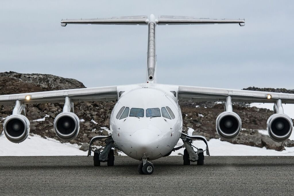 Airplane landing in King George Island, Antarctica