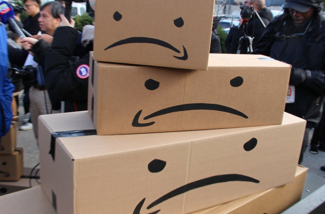 Protesting Amazon with boxes