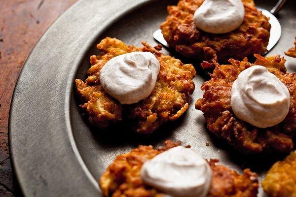 Apple Potato Latkes Cinnamon Sour Cream