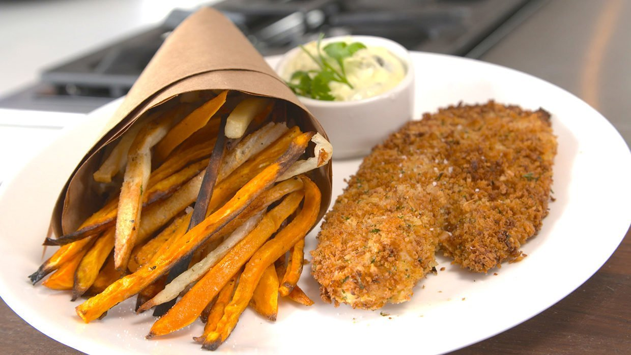 Baked Fish Chips Tilapia Fillet Healthy
