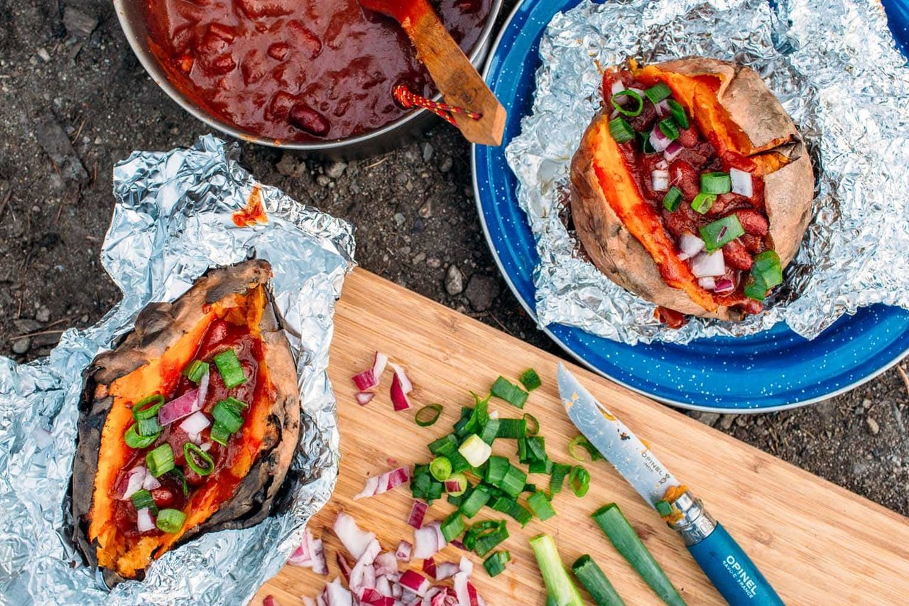 Foil Wrapped Baked Sweet Potatoes and Chili