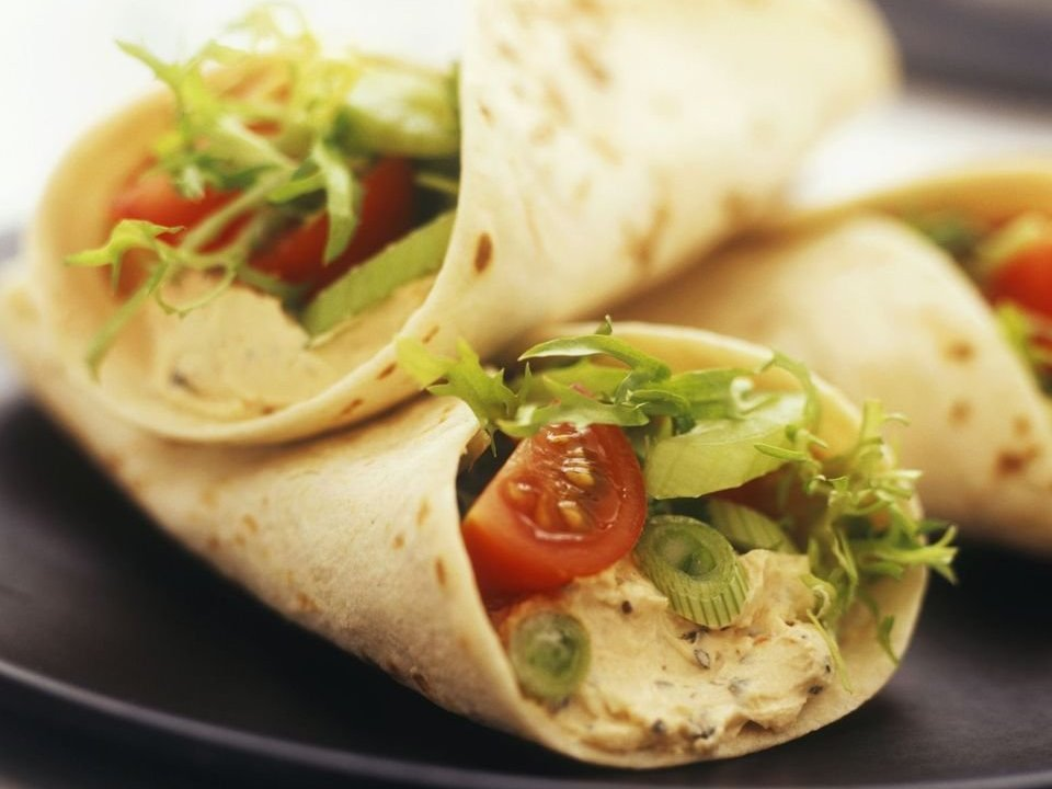 Black Bean Hummus Sandwich Wrap Lunch