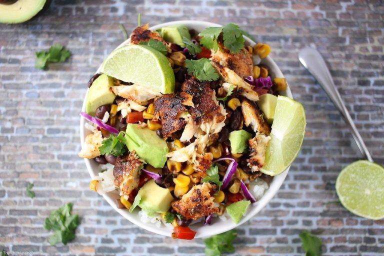 Blackened Tilapia Taco Bowl Lunch Recipe