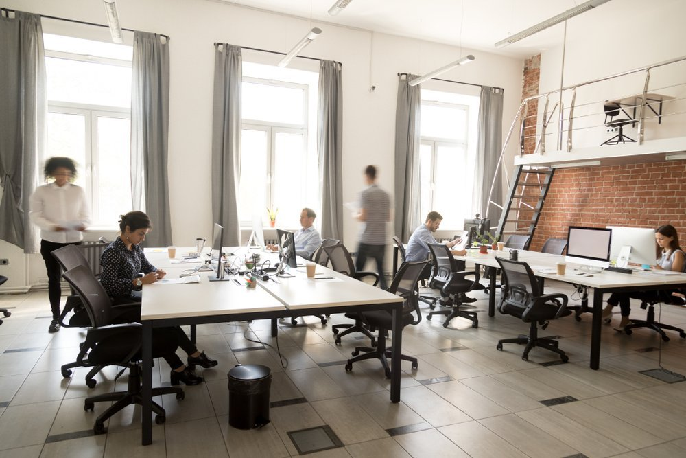 Busy office space with focused employees