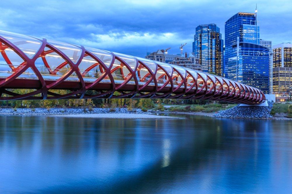 Calgary modern walkway crossing the river