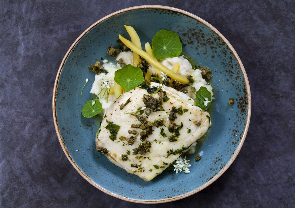Celeriac mash with buttered fish