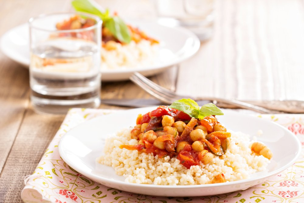 Cumin Spiced chickpeas Carrots Couscous