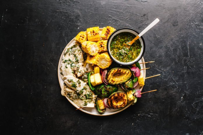 Chimichurri Grilled Tilapia and Avocado Skewers