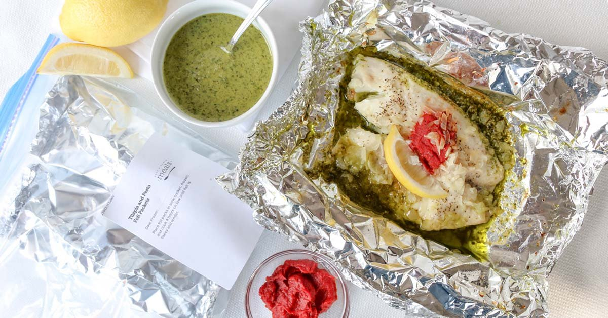 Slow Cooker Tilapia Pesto Foil Packets