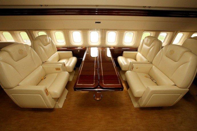 Interior of Donald Trump's private jet