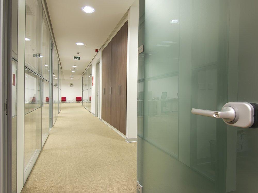 open door leading into an office building