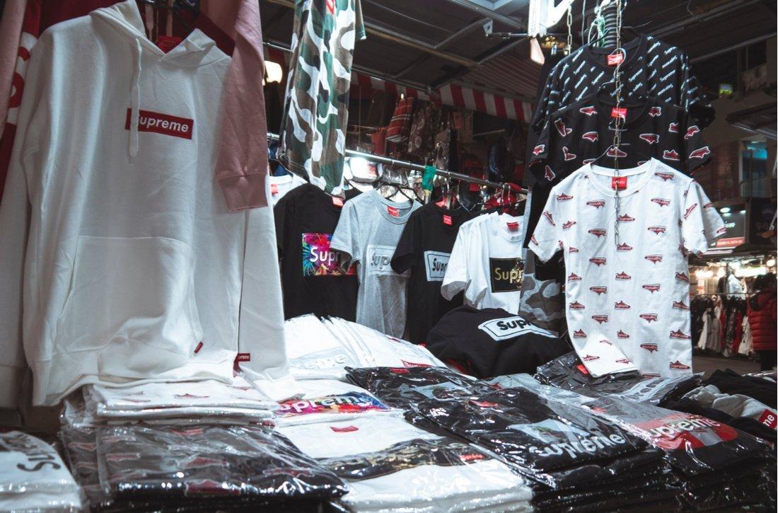 Street stall selling fake Supreme