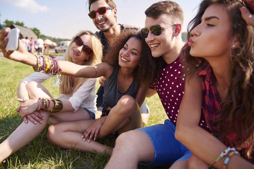 Festival goers take a selfie