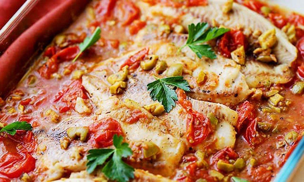 Feta-tomato baked tilapia
