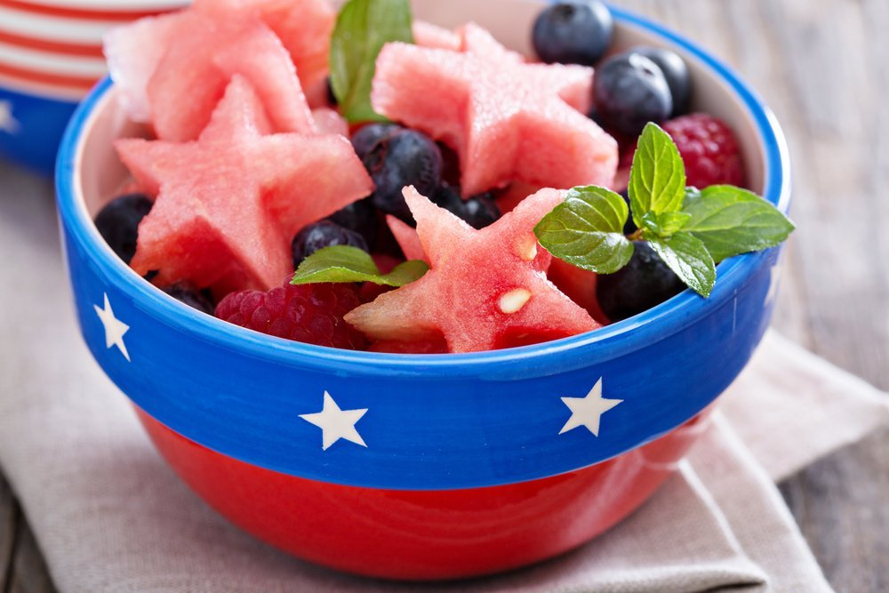 Fresh fruit in 4th of July bowl