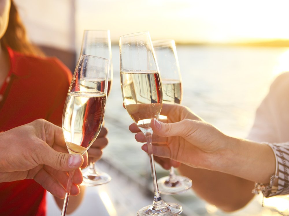 Friends Drinking Onboard Luxury Yacht