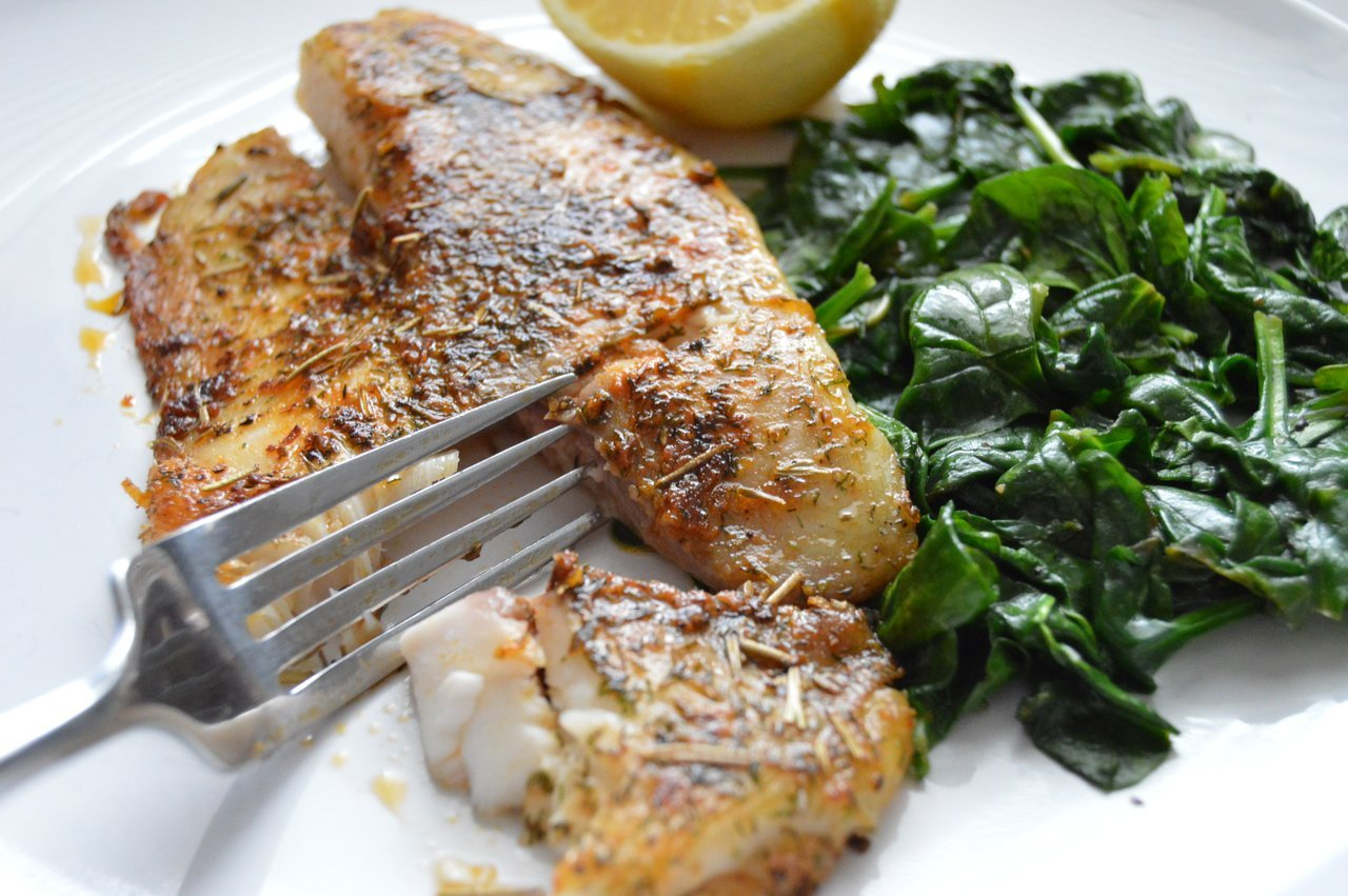 Lemon-Rosemary Tilapia with Sautéed Spinach