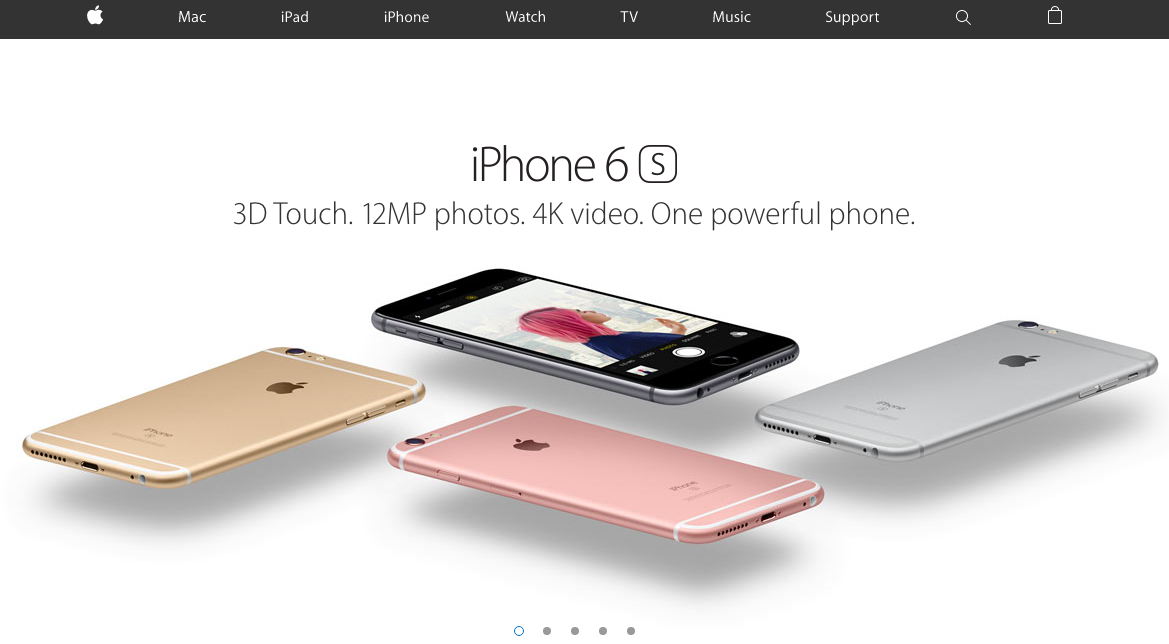 Example of good website spacing from Apple