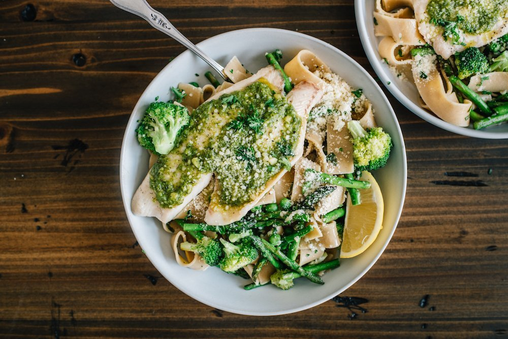 Green Goddess Pasta with Pesto Tilapia