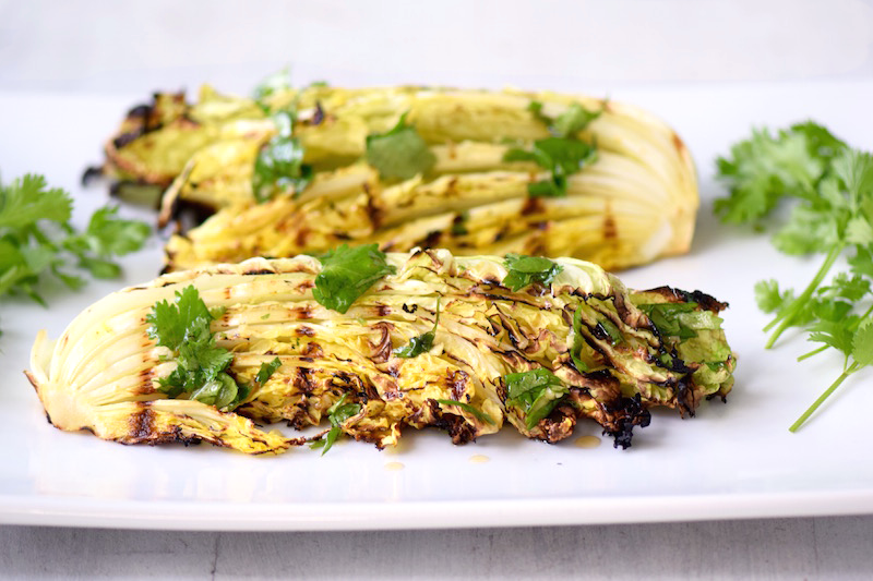 Grilled Cabbage Spicy Lime Dressing