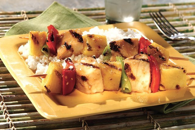 Hawaiian Seafood Kabobs Healthy Tropical Recipe