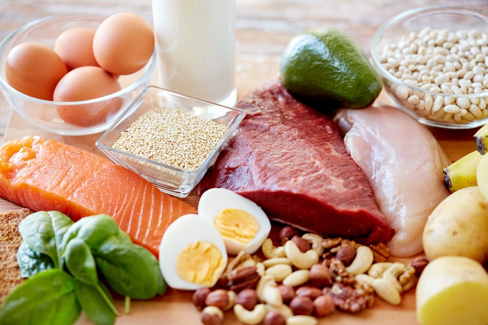 Fish, nuts, meats, and eggs supply plenty of protein.