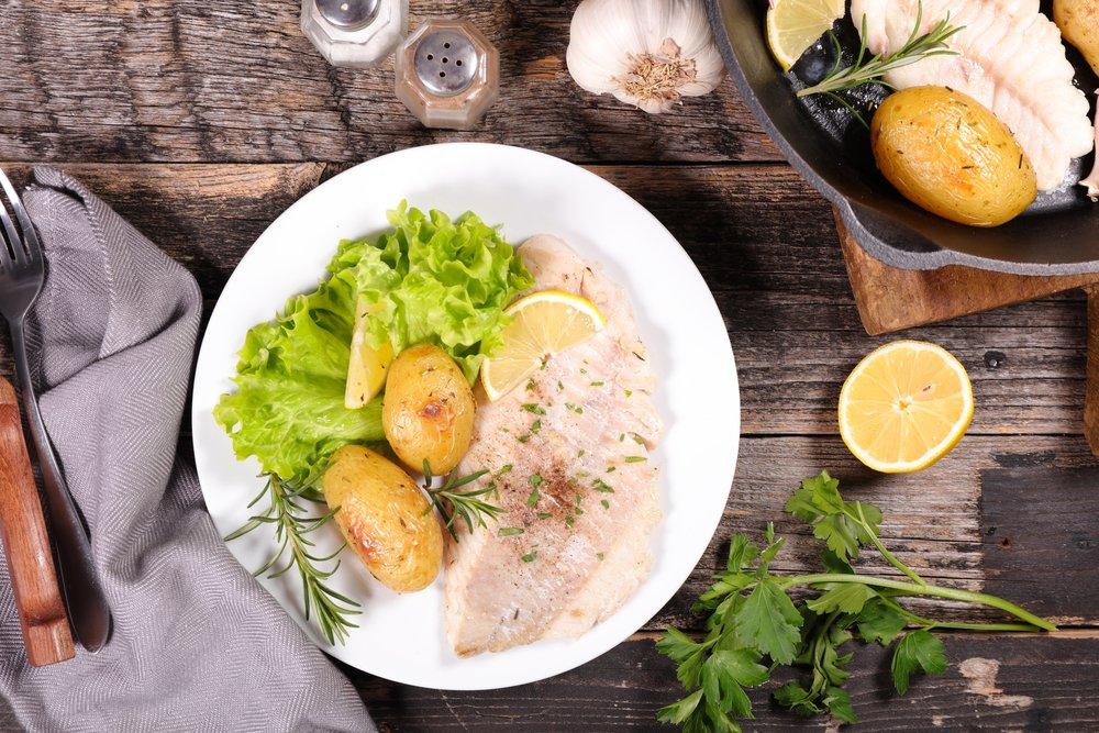 Seafood dinner on plate