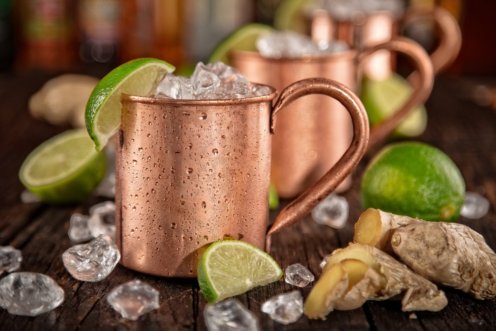 Line of Moscow mule ingredients on the bar