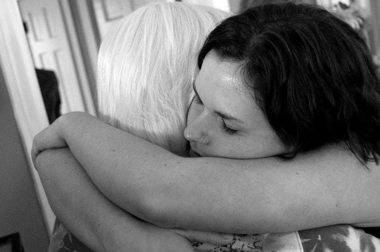 teen adult hug