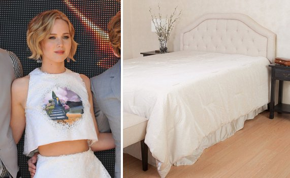 Jennifer Lawrence and Cymax Bedspread