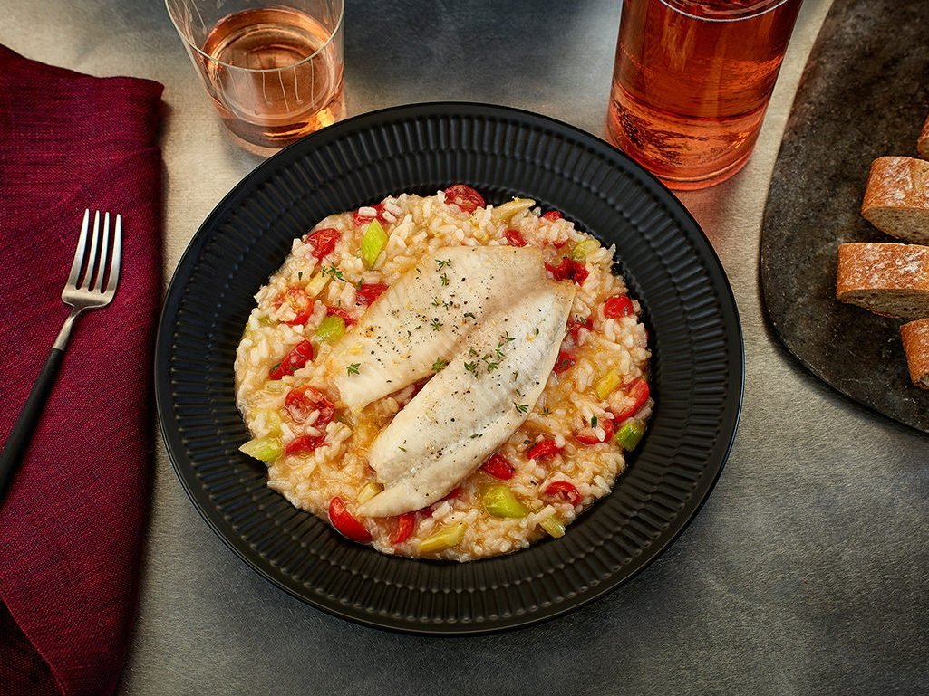 Tomato-roasted Tilapia with Risotto