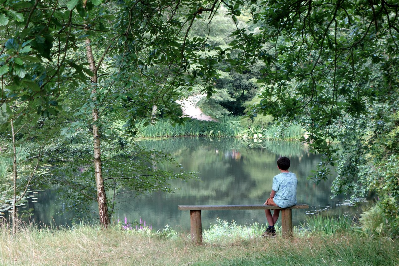teen sitting alone on a bench