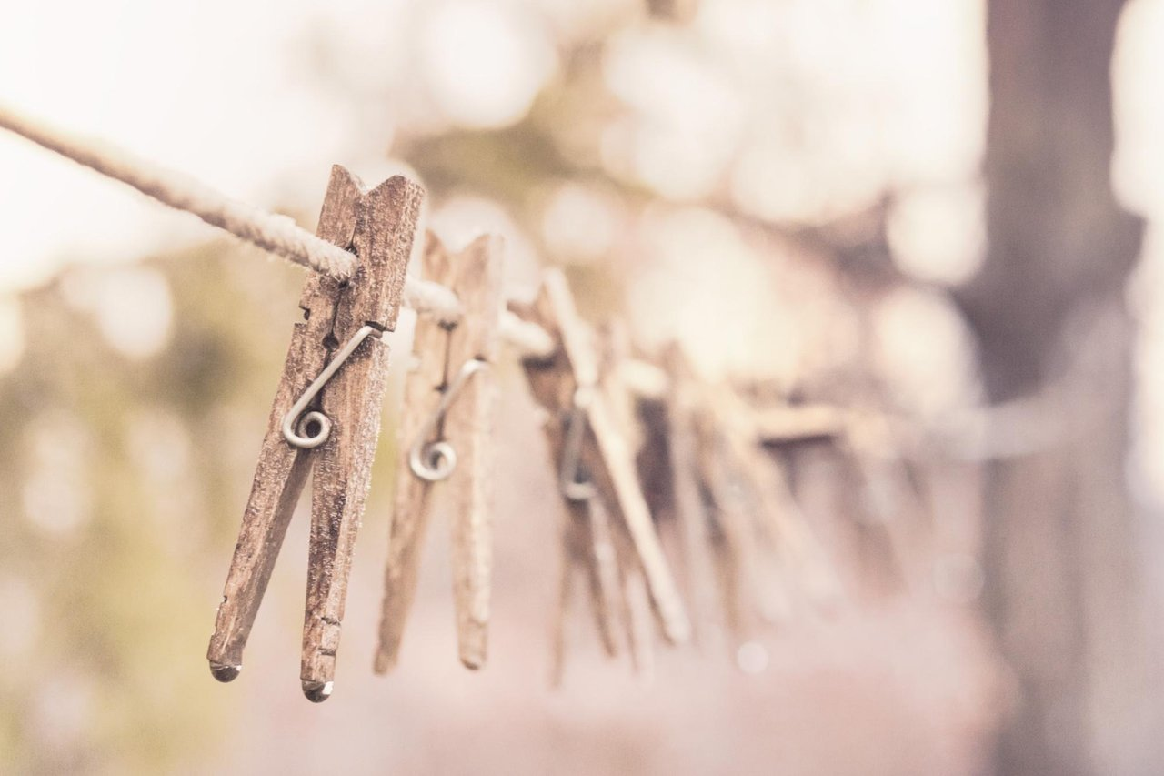 clothes pins on a laundry line
