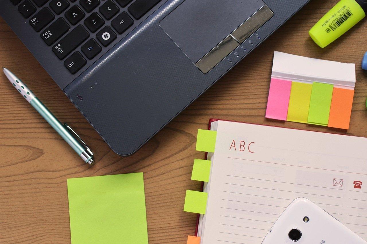 laptop notebook office materials desk
