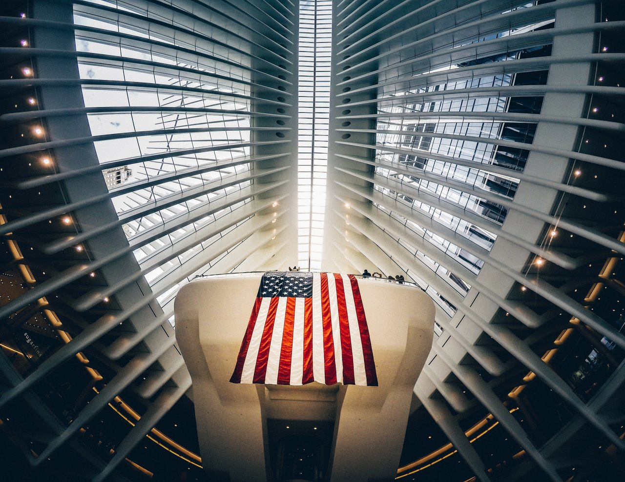 American flag hanging from building interior