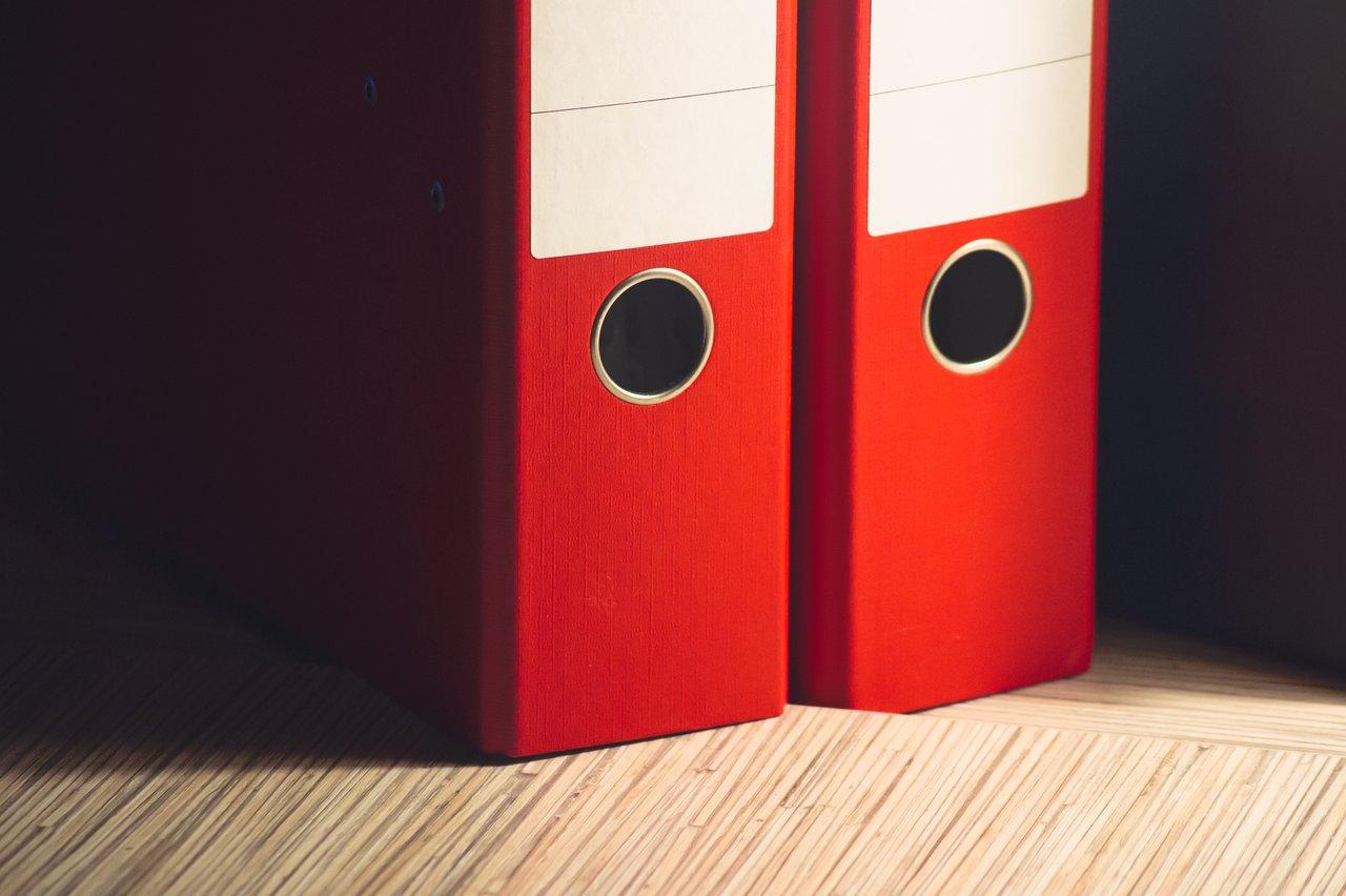 binders on desk