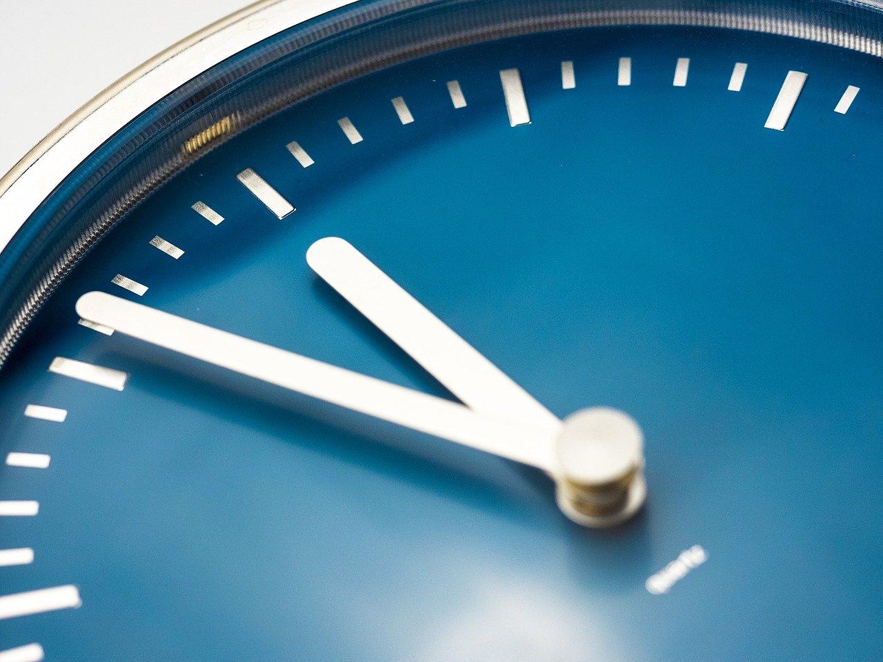 Close up image of a blue clock