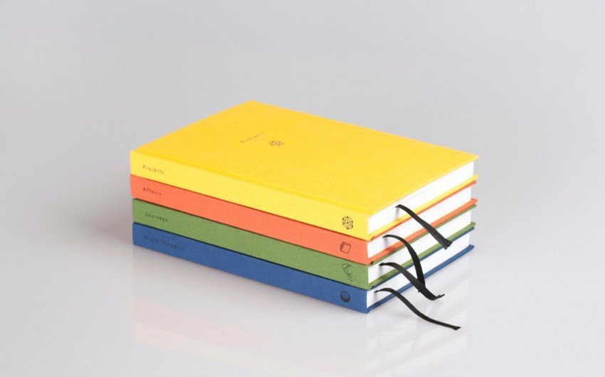 Set of four colorful journals