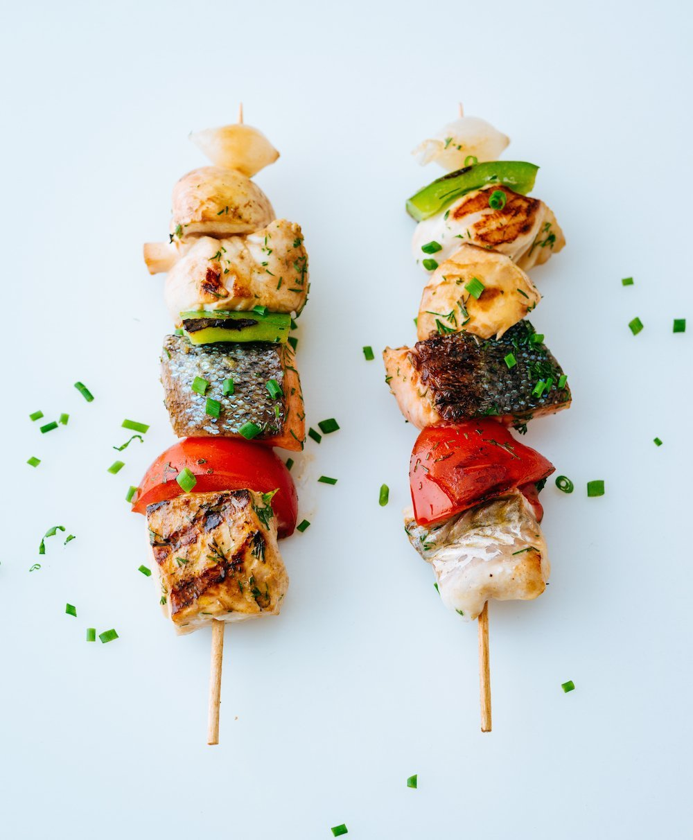grilling fish on kebab technique