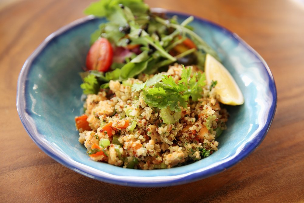 Quinoa salad with fish and vegetables
