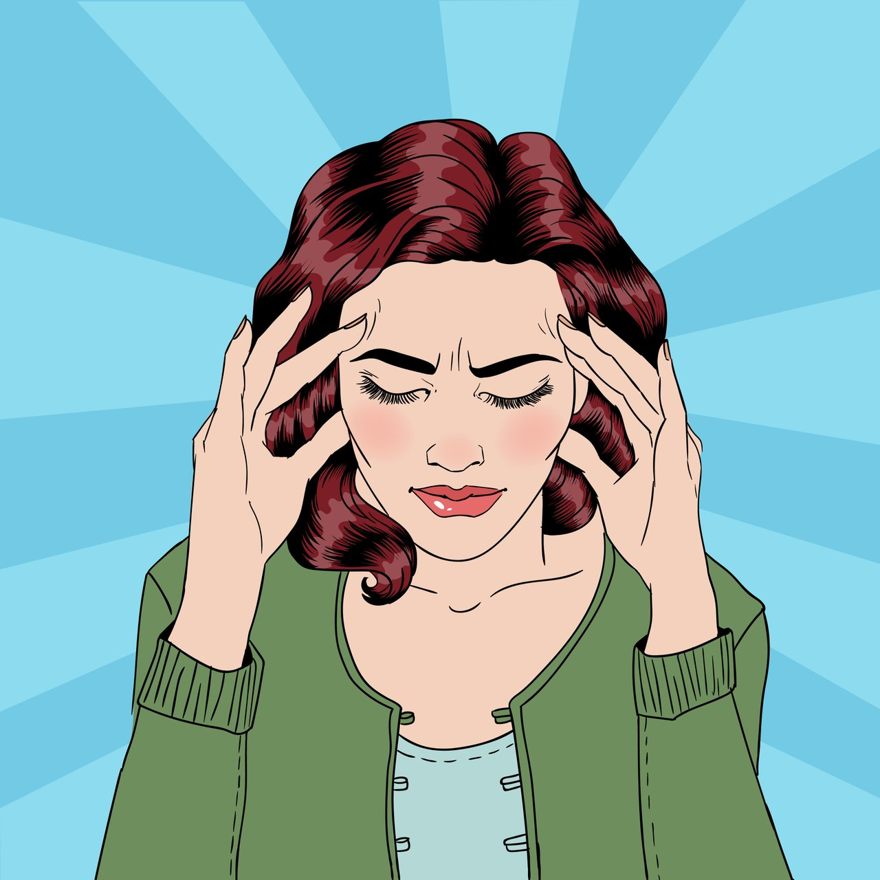 Pop art style illustration of stressed woman with STI
