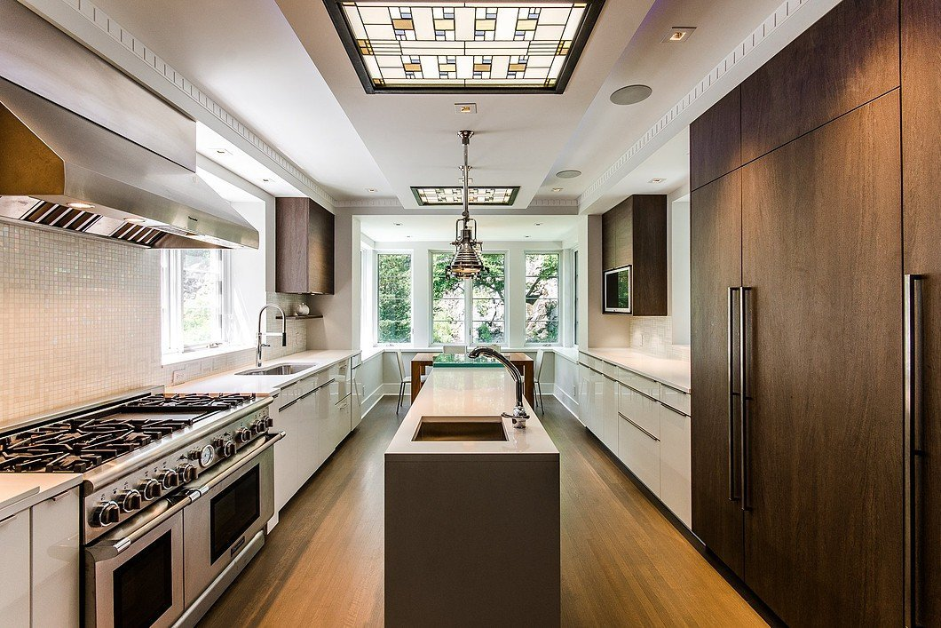 Luxury kitchen with stained glass skylights
