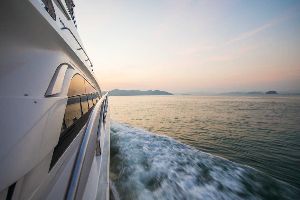Luxury yacht at sunset
