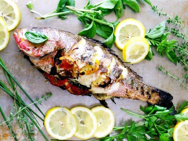 Whole roast Tilapia with lemon and herbs Mediterranean diet dinner