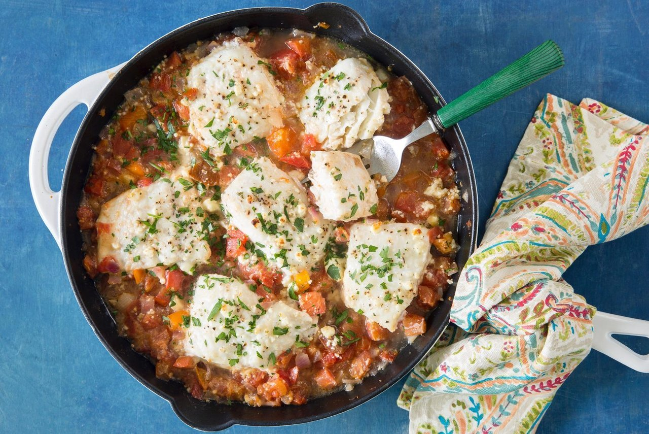 Mediterranean Tomato-and-Feta Baked Fish