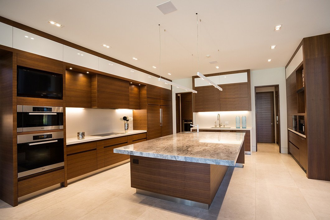 Minimalist kitchen with built-in appliances