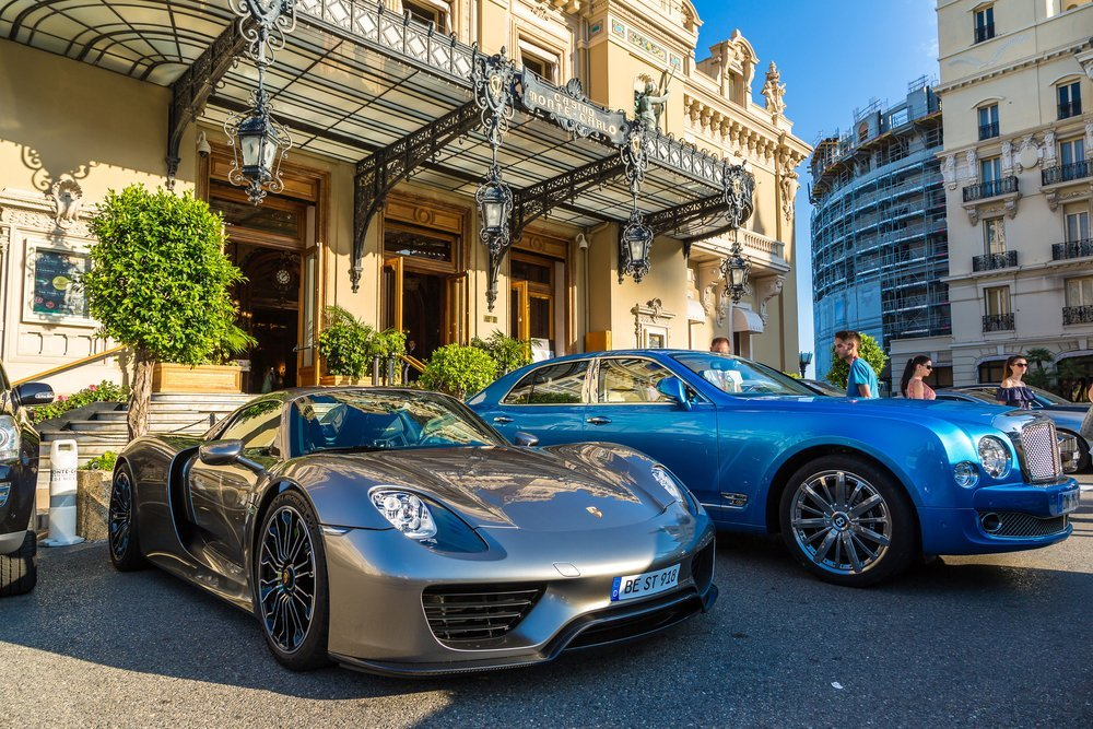 Close up of luxury cars in Monaco