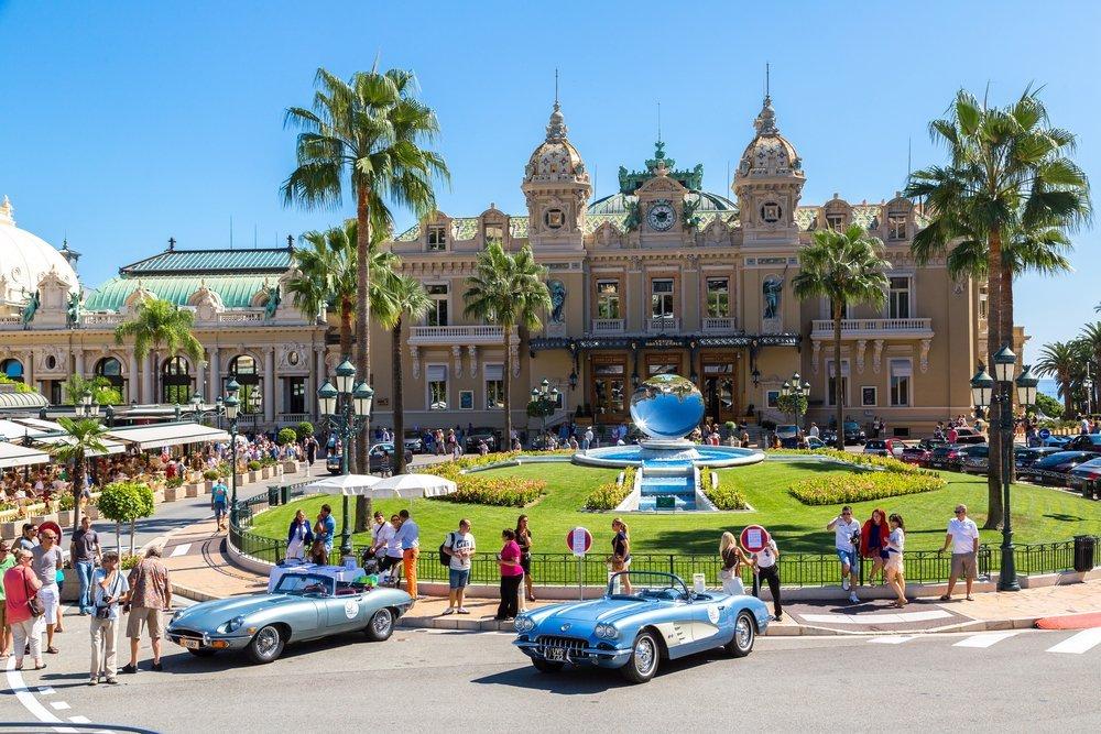 Luxury cars displayed at Monaco's casino