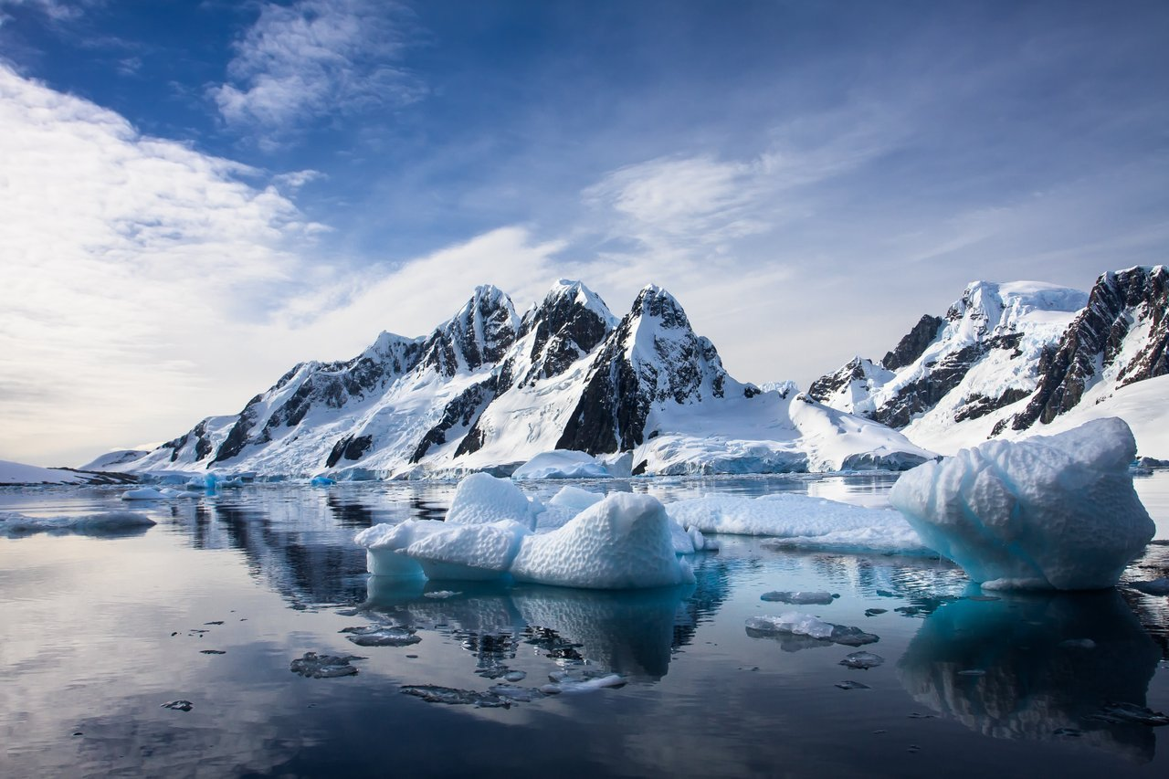 Mountains and icebergs in Antarctica